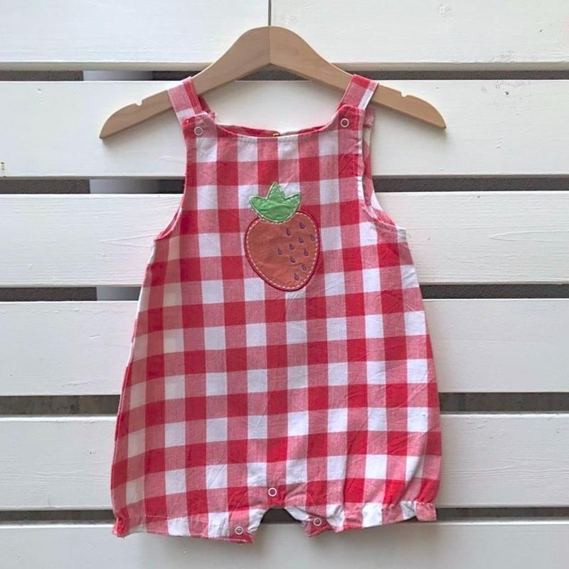 492.【USED】Strawberry Red Gingham check Rompers