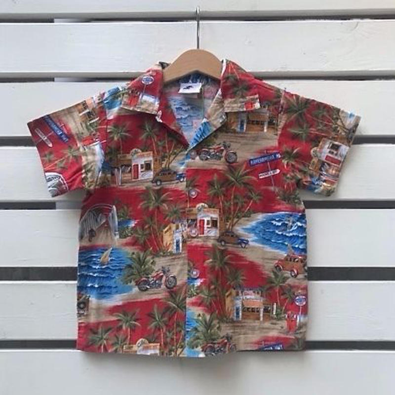 553.【USED】Summer Red  Hawaiian Shirts(made in HAWAII)