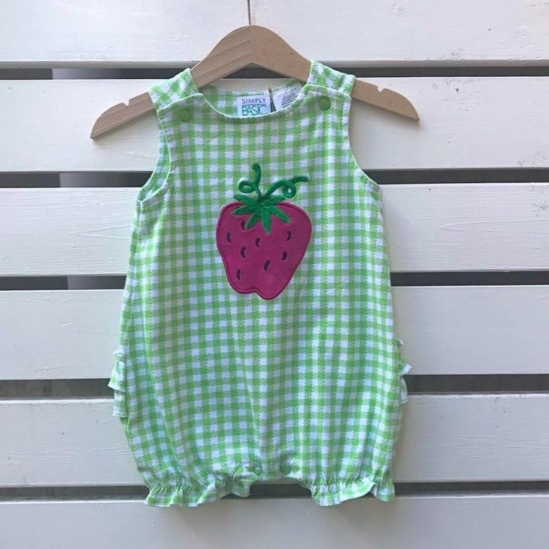 502.【USED】Strawberry Green G check Rompers