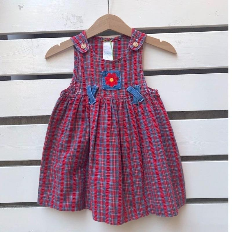 433.【USED】Red Plaid Flower Dress