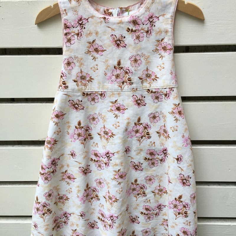 71.【USED】Flower print linen back ribbon Dress