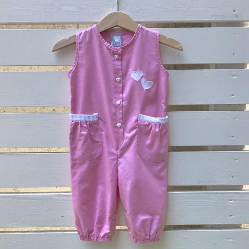 34.【USED】Pink hart motif Rompers(Made in U.S.A.)