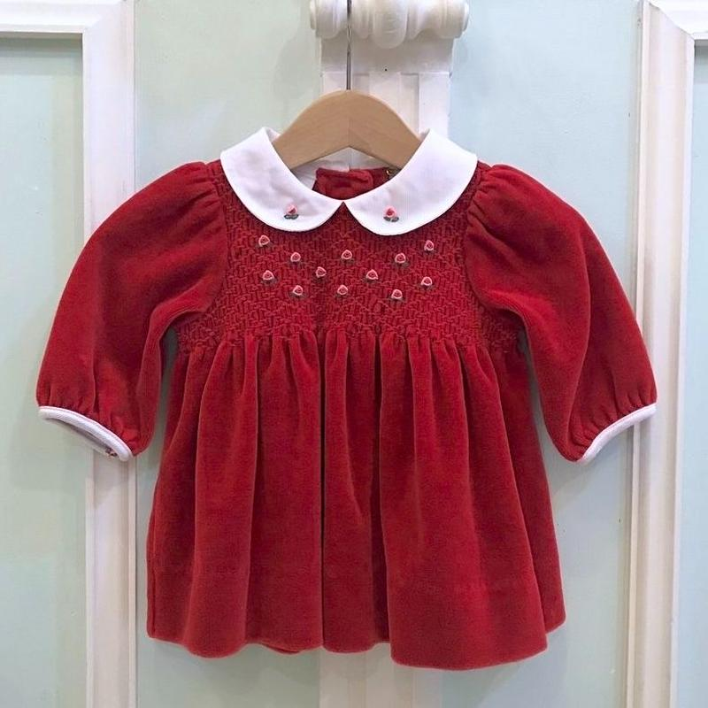 399.【USED】Red Velours Flower Dress