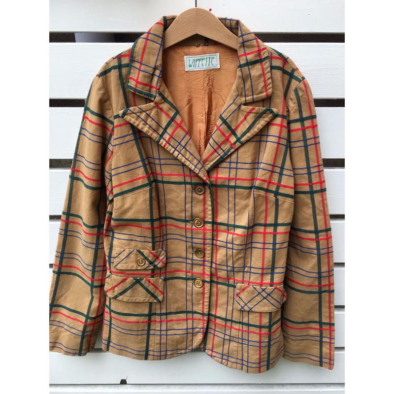"87.【USED】Vintage "" WIPPETTE"" check jacket with gold button"