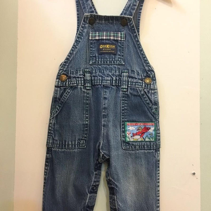 "【USED】""OSHKOSH"" OLD Design Check print  pocket Denim Overall ( Made in U.S.A.)"
