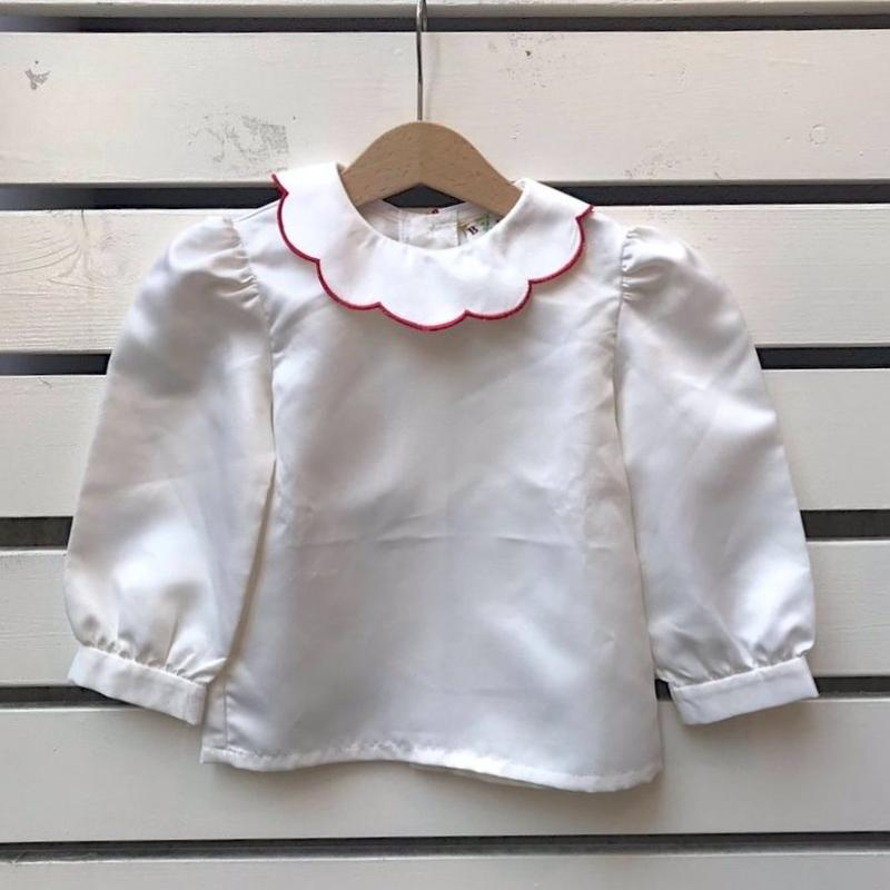 438.【USED】Ivory Scallop collar Blouse