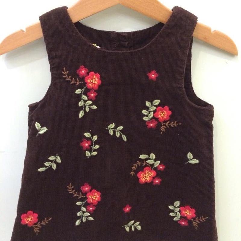 【USED】Flower motif Brown corduroy Dress