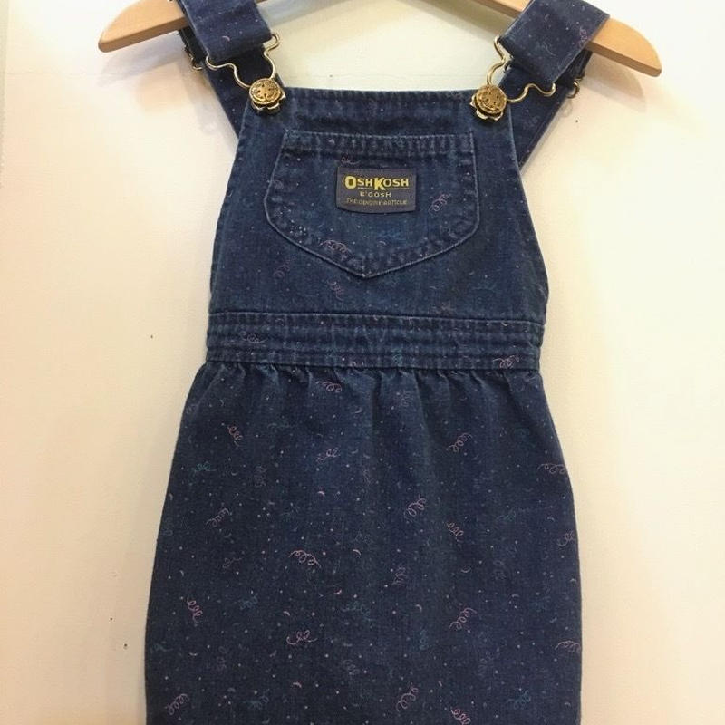 "【USED】"" OSHKOSH "" OLD Design Pink x Blue print Denim Dress (Made in U.S.A.)"