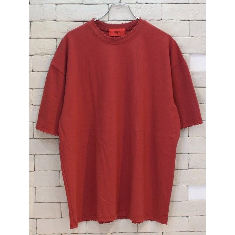 S/S OVER SIZED DESTROYED TEE RED