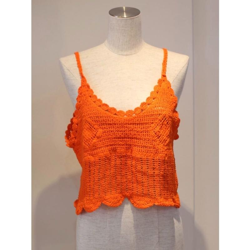 NEON COLOR KNIT BUSTIER ORANGE