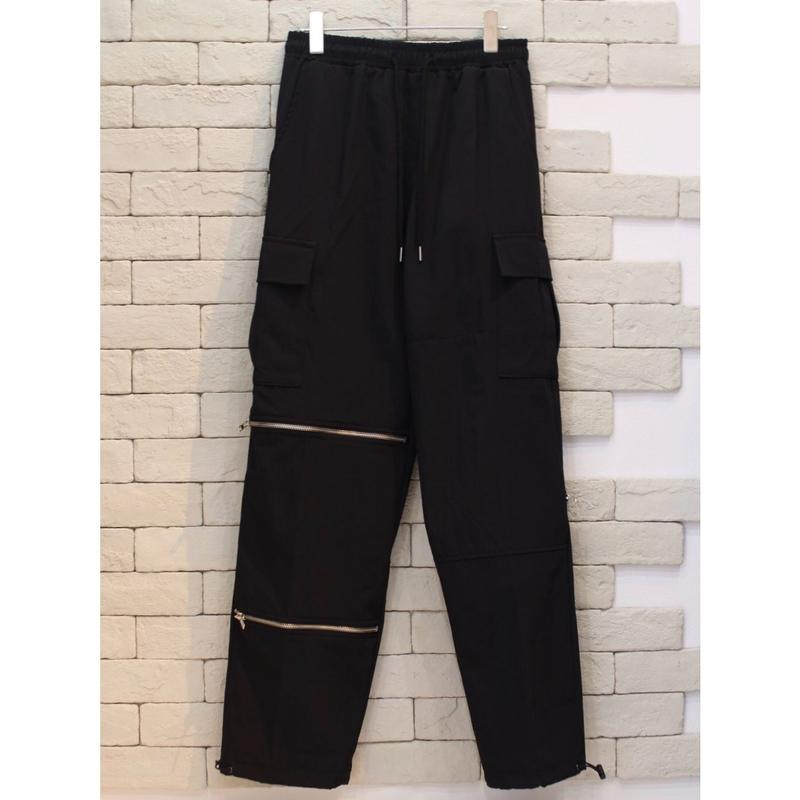 MULTI ZIPPER NYLON CARGO PANTS BLACK