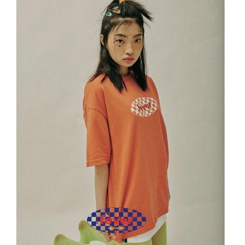 FEVERTIME CHECKER TEE ORANGE