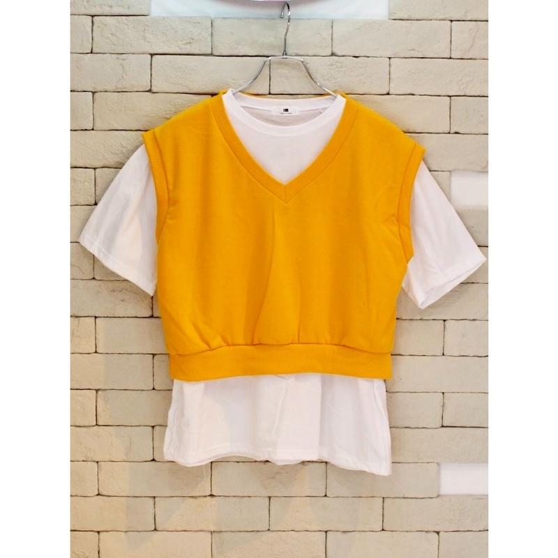 VEST SET TEE GOLD/WHITE