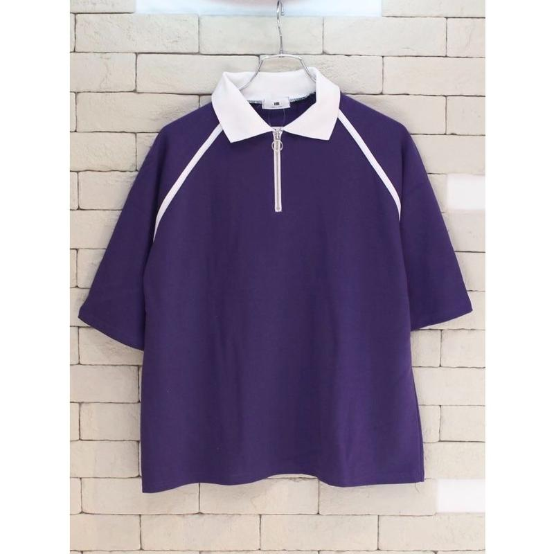 S/S RING ZIPPER POLO SHIRTS PURPLE