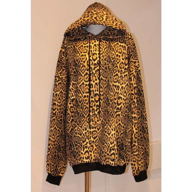 OVERSIZED LEOPARD SWEAT HOODIE BROWN