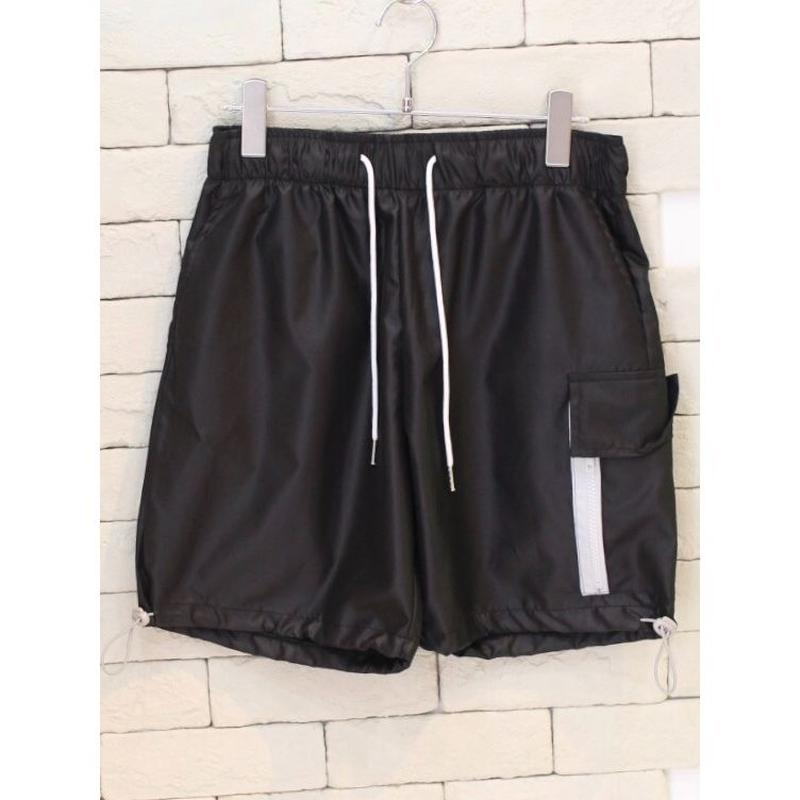 NYLON ZIPPER CARGO SHORTS BLACK