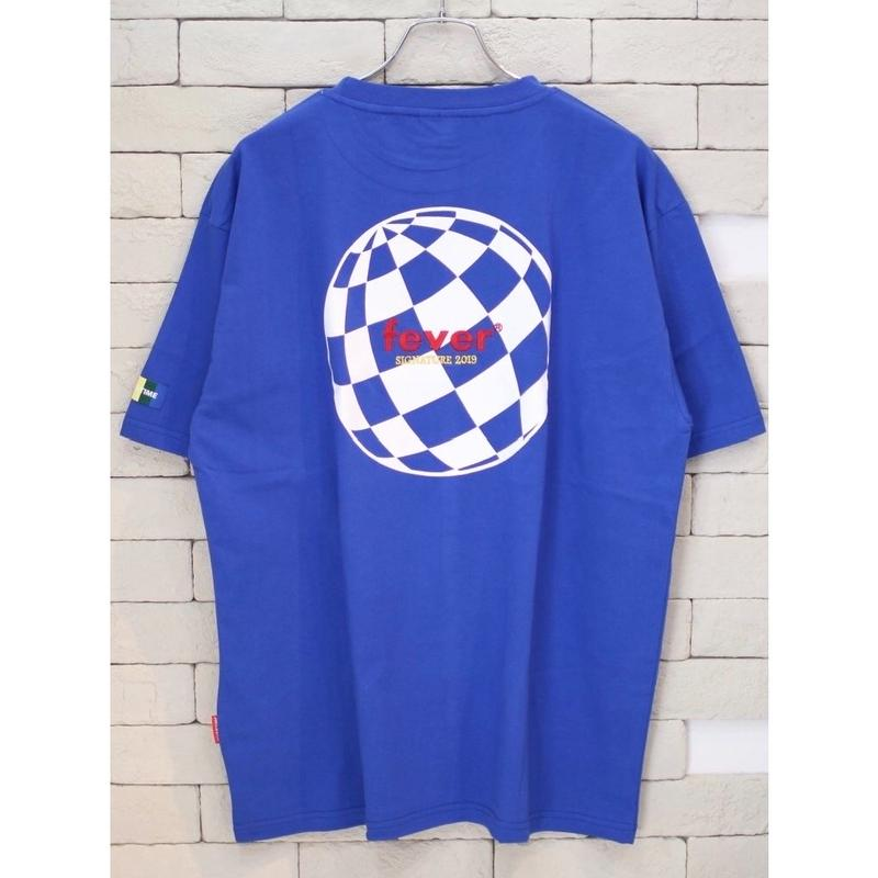 FEVERTIME GLOBE CHECKER TEE BLUE