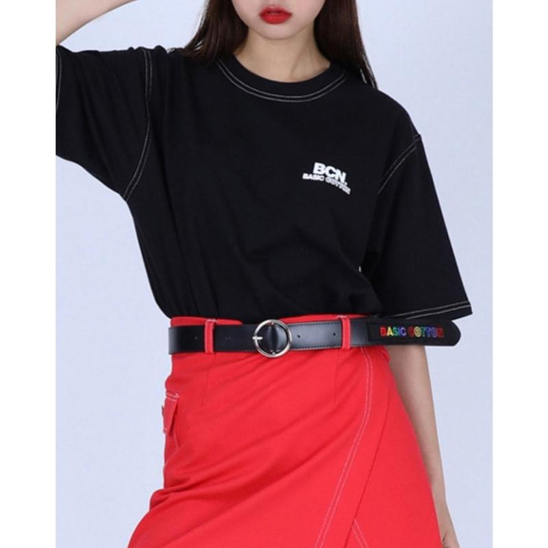 BASIC COTTON BCN STITCH TEE BLACK