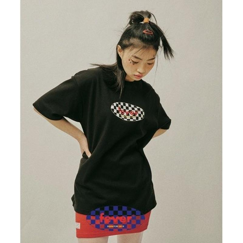 FEVERTIME CHECKER TEE BLACK