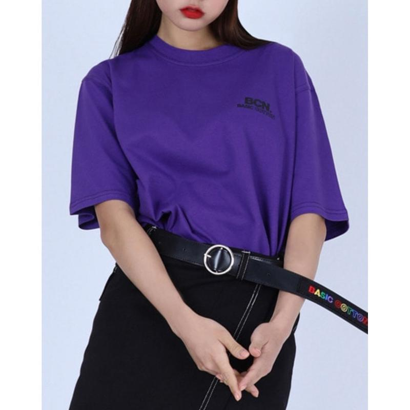 BASIC COTTON BCN STITCH TEE PURPLE