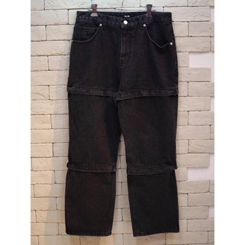 INCISED ZIPPER DENIM PANTS  BLACK