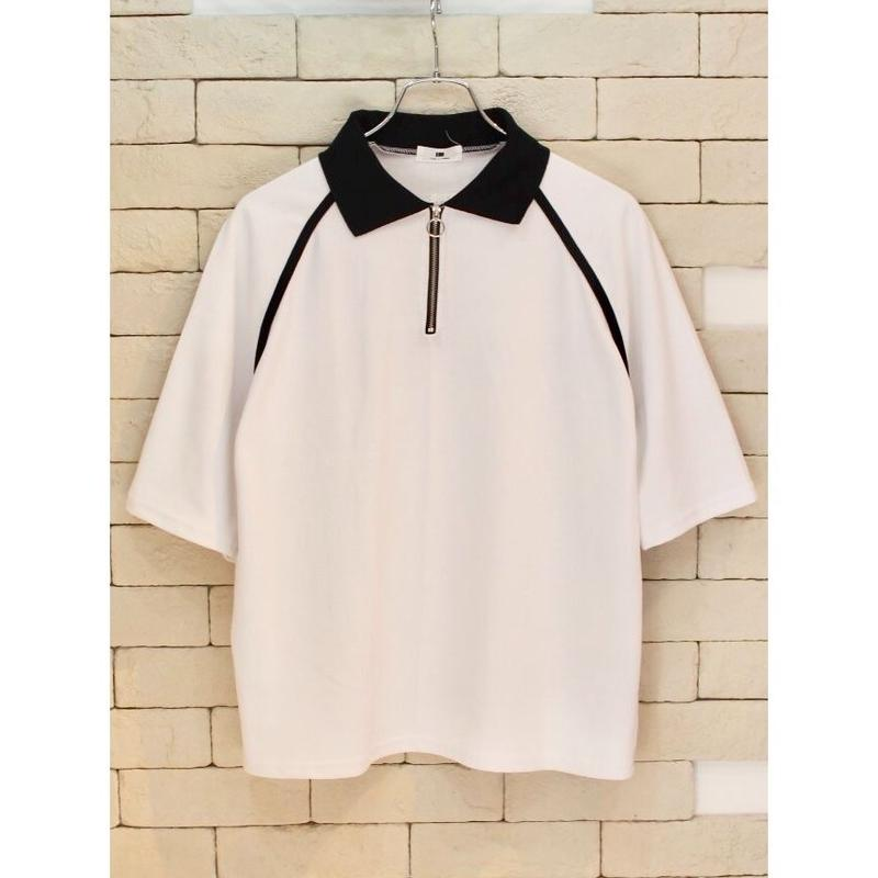 S/S RING ZIPPER POLO SHIRTS WHITE