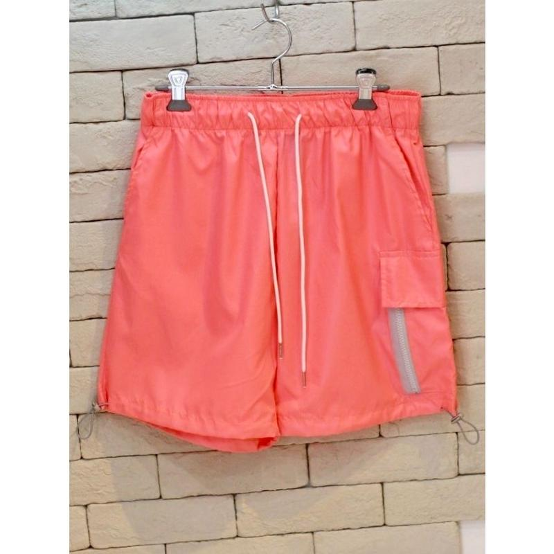 NYLON ZIPPER CARGO SHORTS PINK