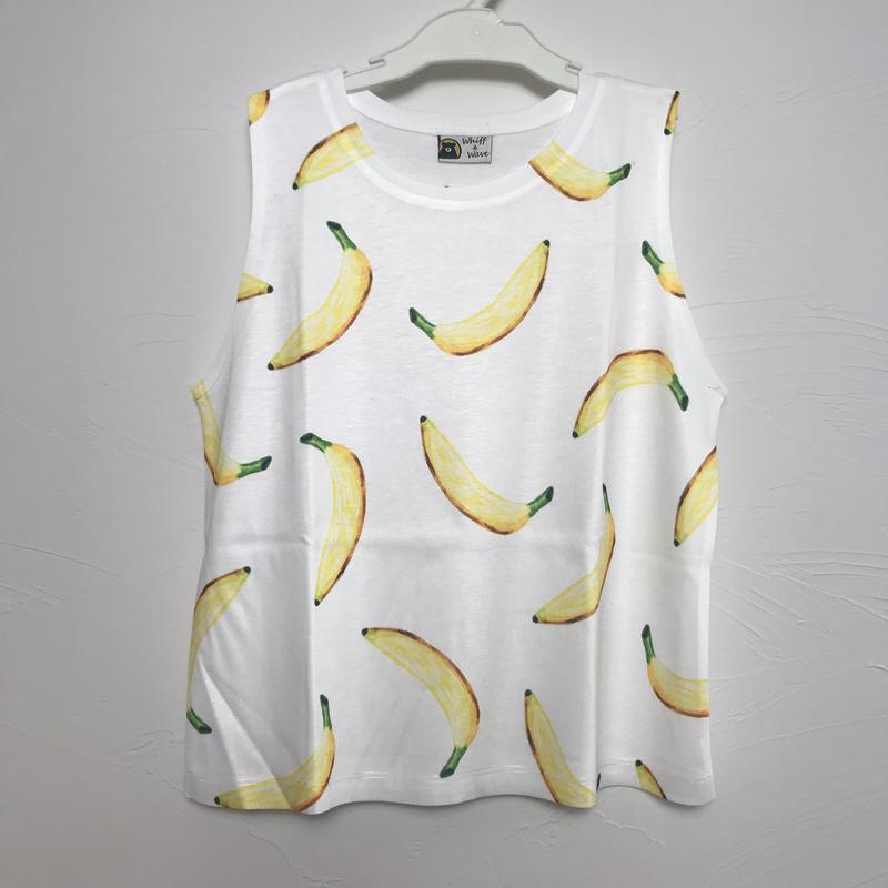 バナナ柄 タンクトップ キッズ 8才〜9才
