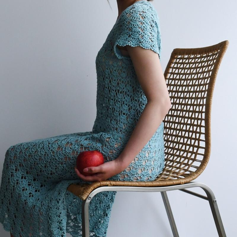 1930s Crochet Blue Knit Dress