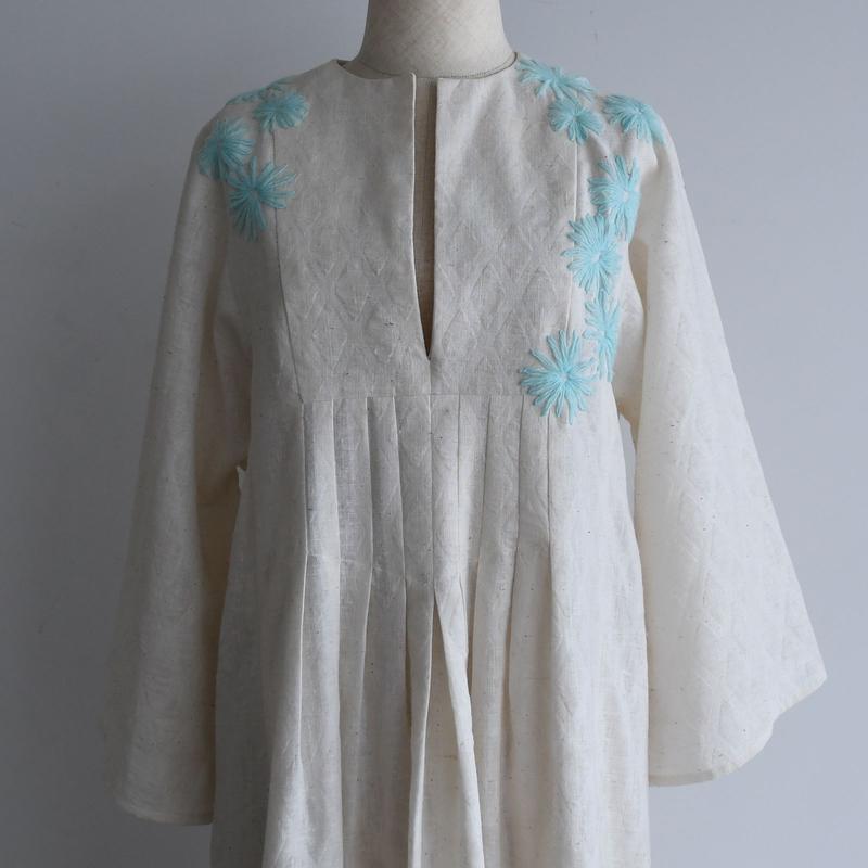 1970s Blue Flower Cotton Dress