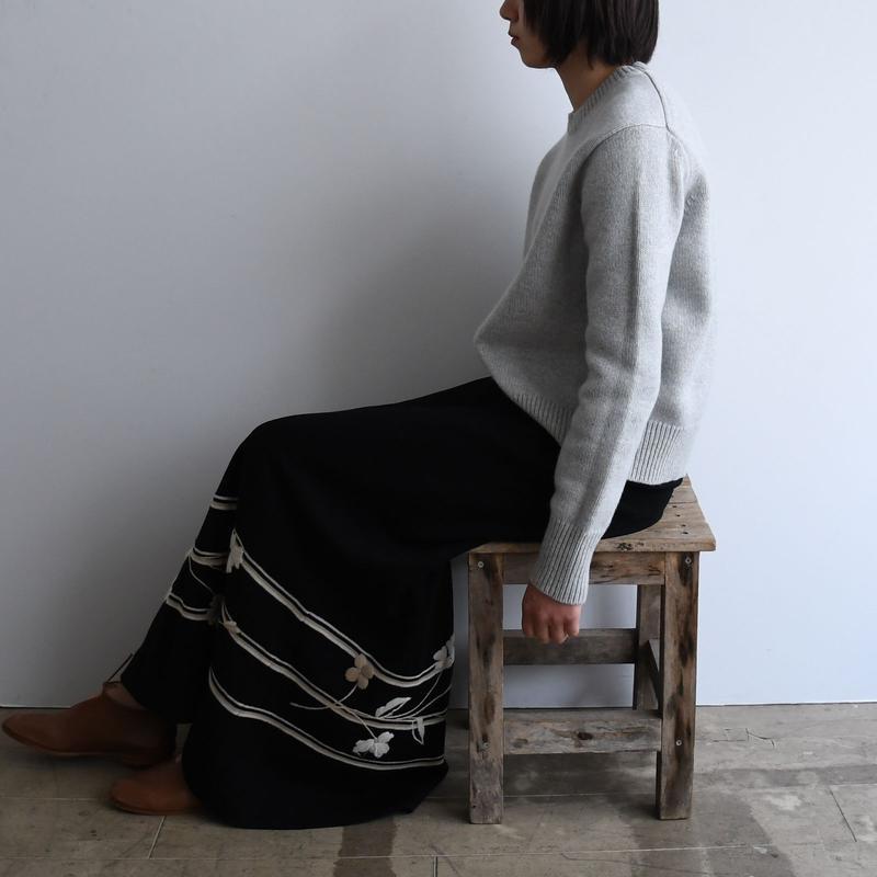 vintage Wool Floral Long Skirt
