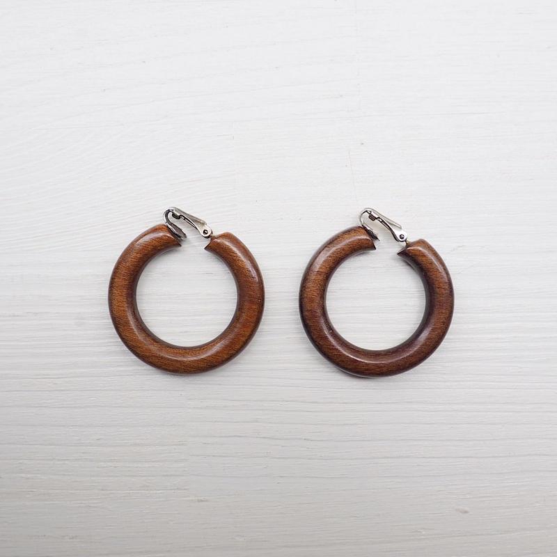 vintage Wood Hoop Earrings