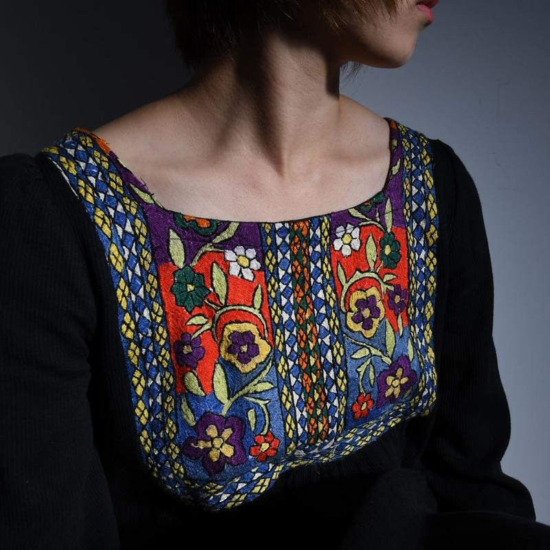 Hand Embroidered Black Dress