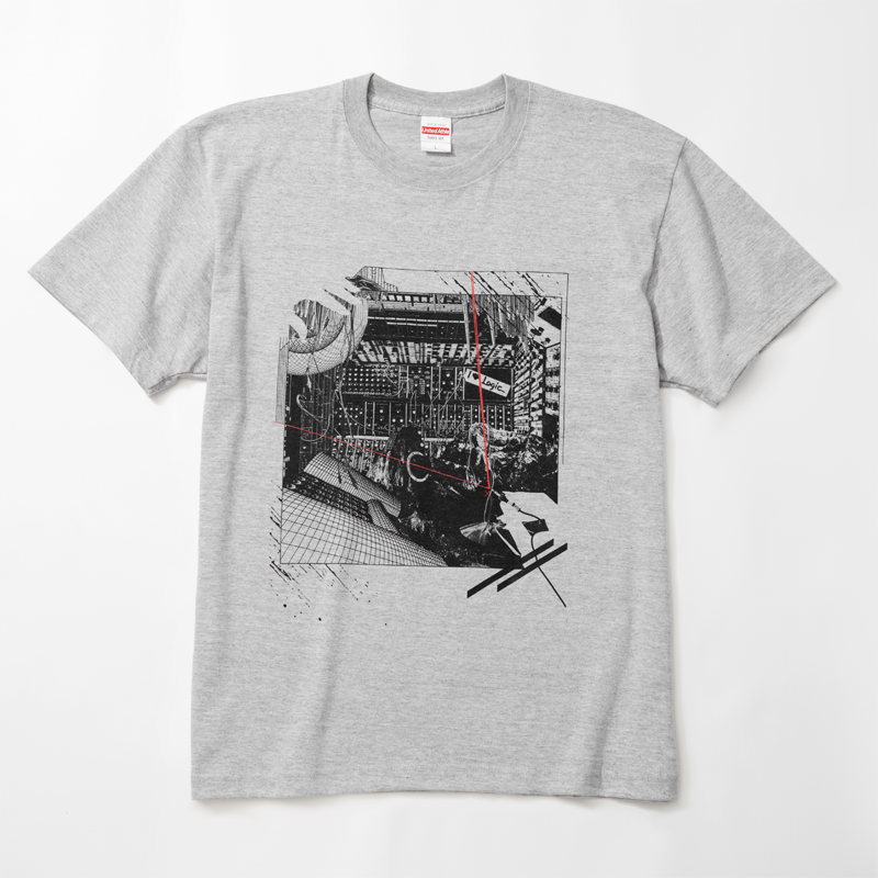pinewaves / Logic System × Kosuke KAWAMURA  Synth Collage Tshirt (mix gray)