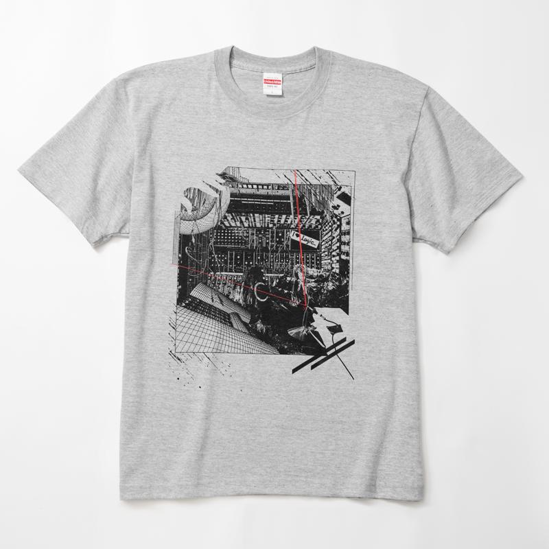 Logic System × 河村康輔    シンセ・コラージュTシャツ(ミックス・グレー)