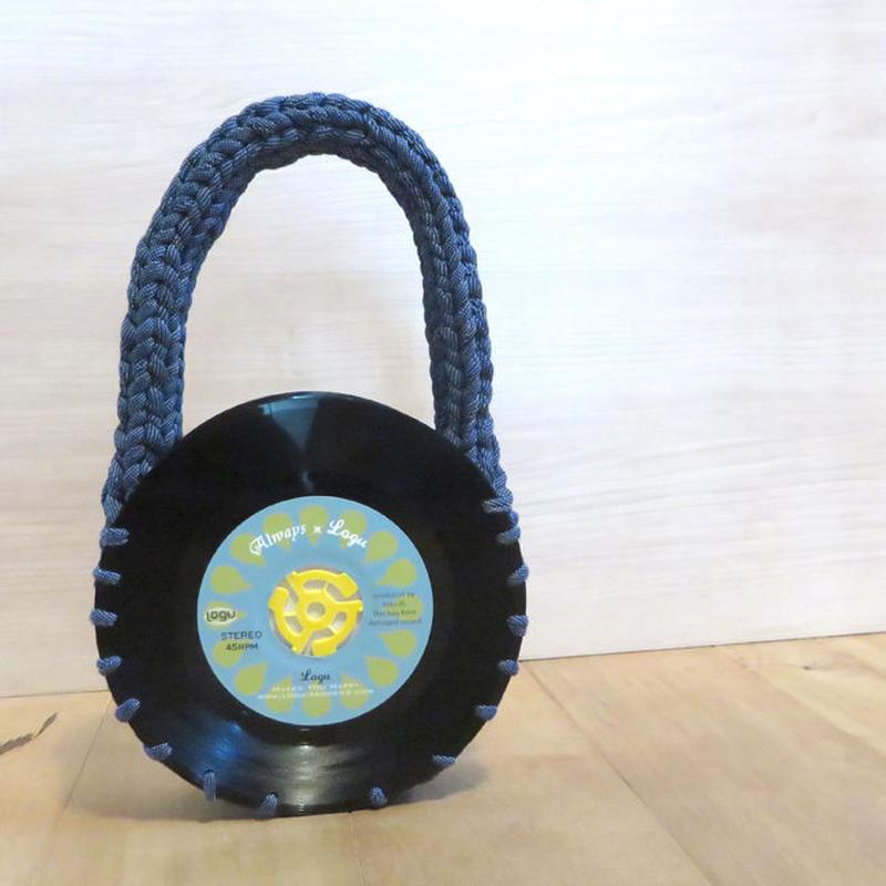 本物のレコードで出来たバッグ「bagu 」cotton strings nami denim アップサイクル(UP cycle)