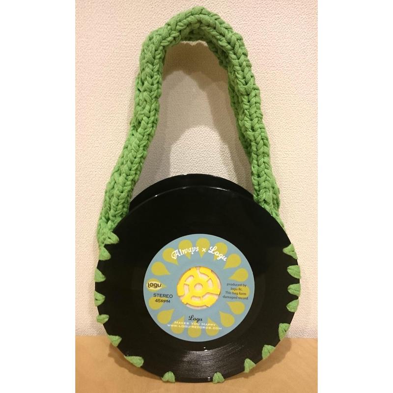 本物のレコードを使ったバッグ 「bagu」cotton strings green