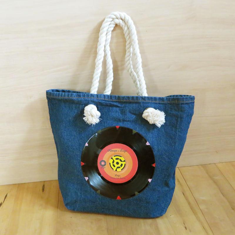 本物のレコードを使ったバッグ「bagu」デニムトートM Red