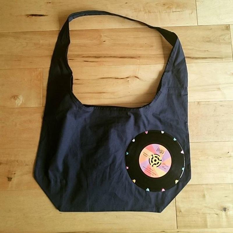 本物のレコードを使ったバッグ 「bagu」canvas shoulder  navy