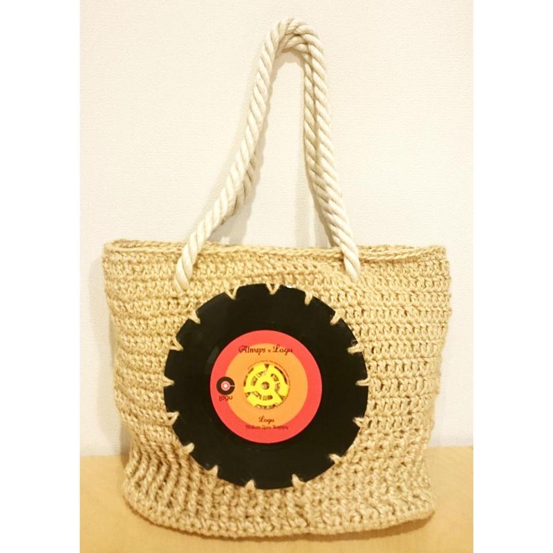 本物のレコードを使ったバッグ 「bagu」hemp tote natural