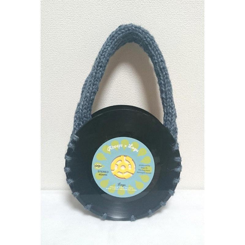 本物のレコードを使ったバッグ 「bagu」hemp strings navy アップサイクル(UP cycle)