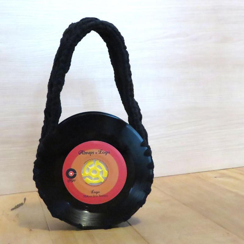 本物のレコードで出来たバッグ「bagu」 cotton strings black アップサイクル(UP cycle)