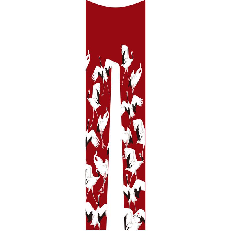 鶴 レギンス 総柄 紅葉色