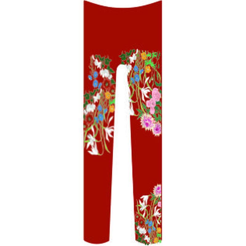 花 (柄細め) タイツ 紅海老茶色