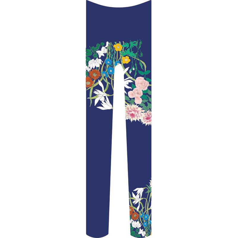 花 タイツ 瑠璃紺色