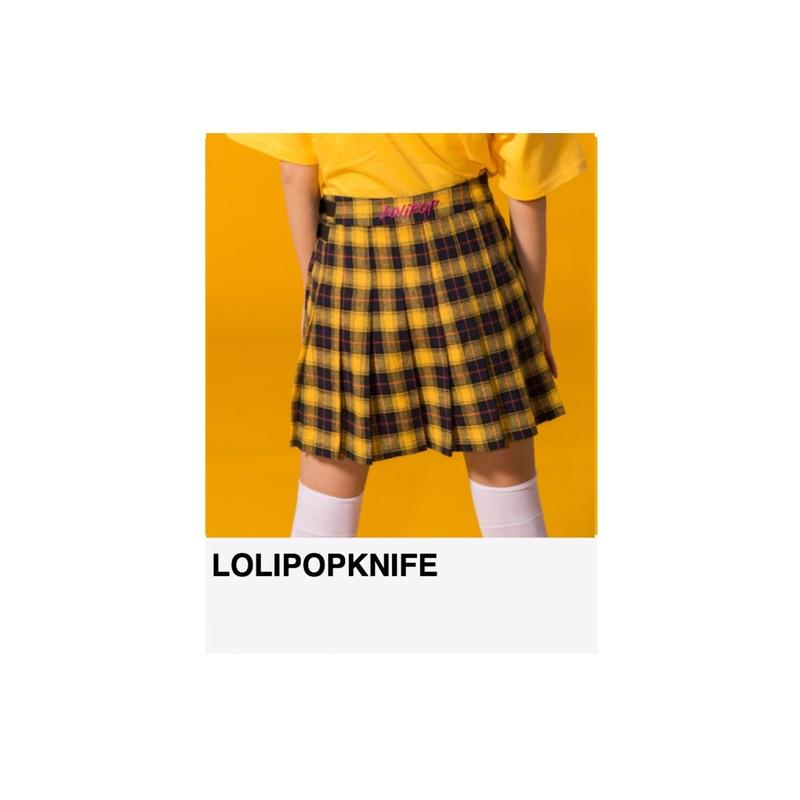 〈残りわずか〉LOLIPOP刺繍入り2way巻きプリーツスカート YELLOW