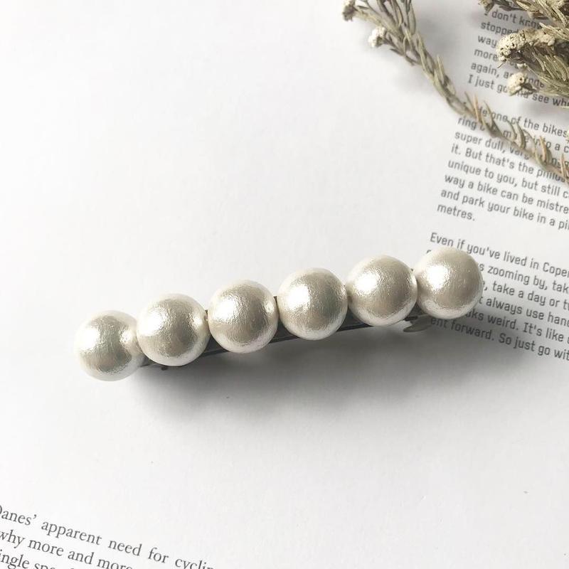 cotton pearl   barrette
