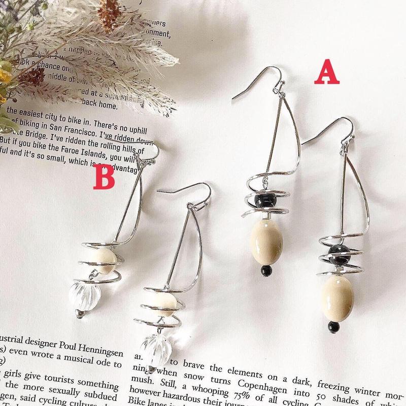 silver & beads  pierce  earring