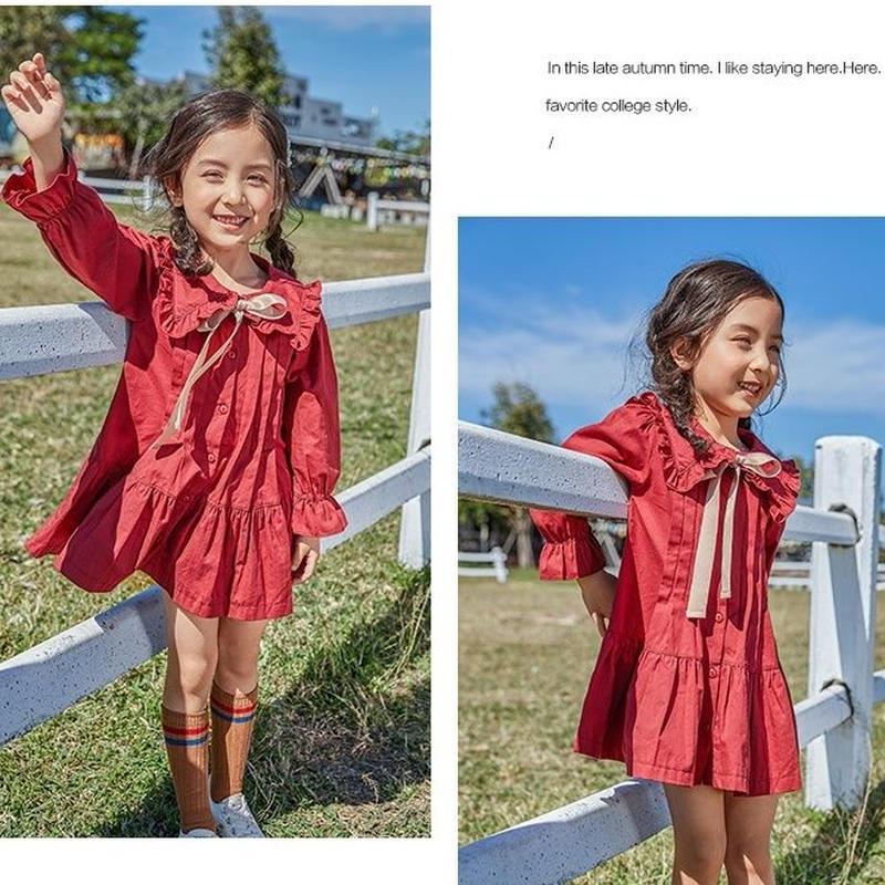 韓国子供服風 女の子 丸襟 長袖 ひざ丈 ワンピース キッズワンピース 長袖 ゆったり 子供ワンピース 女の子 ナチュラル シャツ 100cm-150cm 子供服 ブラウス TAGX11648