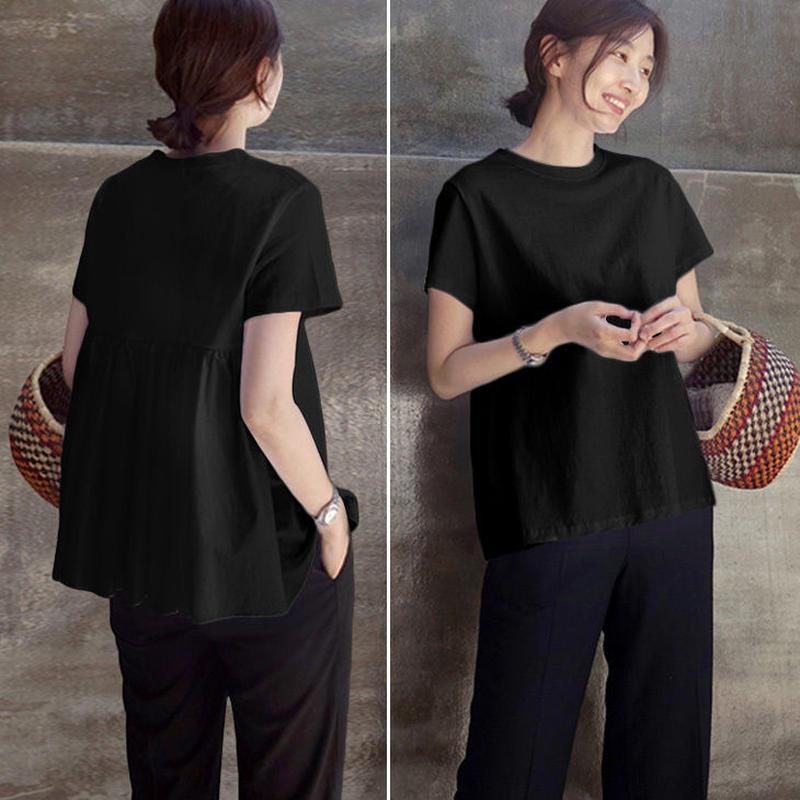 【Tシャツ 半袖 レディース カットソー トップス】 おしゃれ ゆったり シンプル 可愛い 大人気 ブラック ホワイト 2019春夏新作 S/M/L/XL 送料無料 TAGX11688